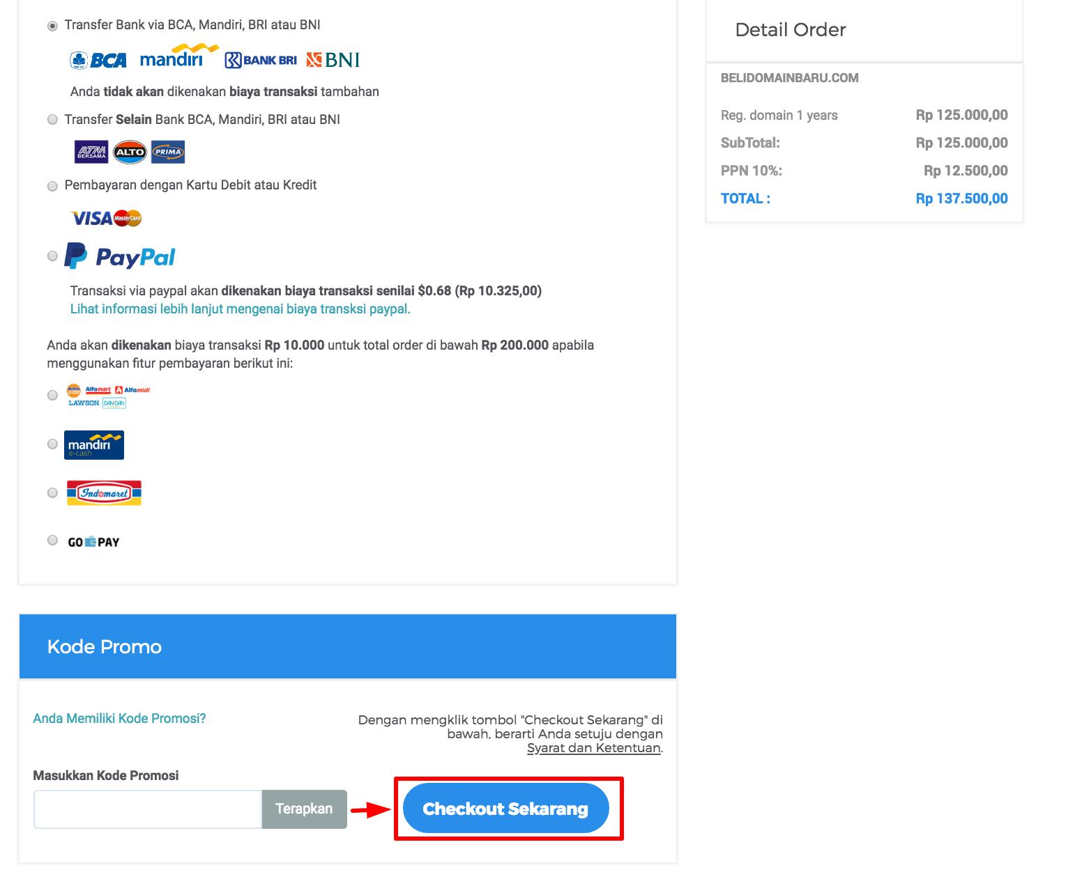 cara beli domain dengan kode promo niagahoster